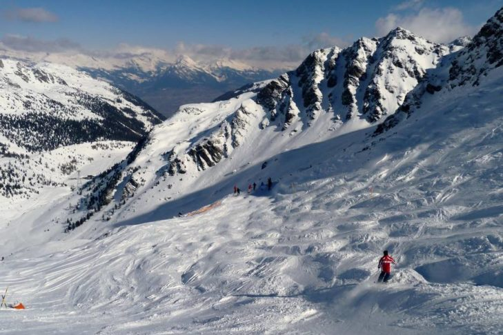 The mogul pistes of Gentianes in the Swiss 4 Vallées.