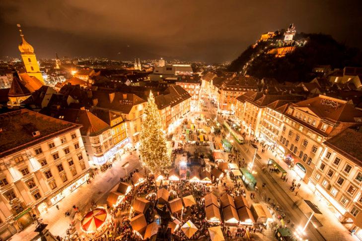 Grazer Christmas market at the local mountain.
