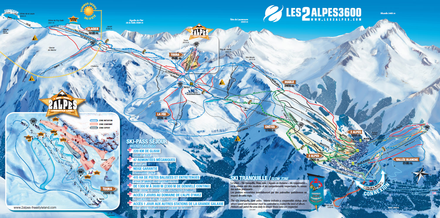 Ski area Les 2 Alpes skiing piste map and aprsski