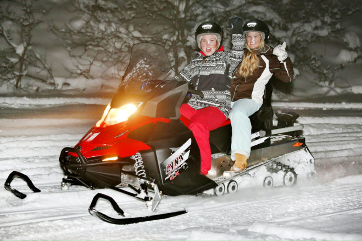 A speedy ride with the snowmobile really get your heart racing.