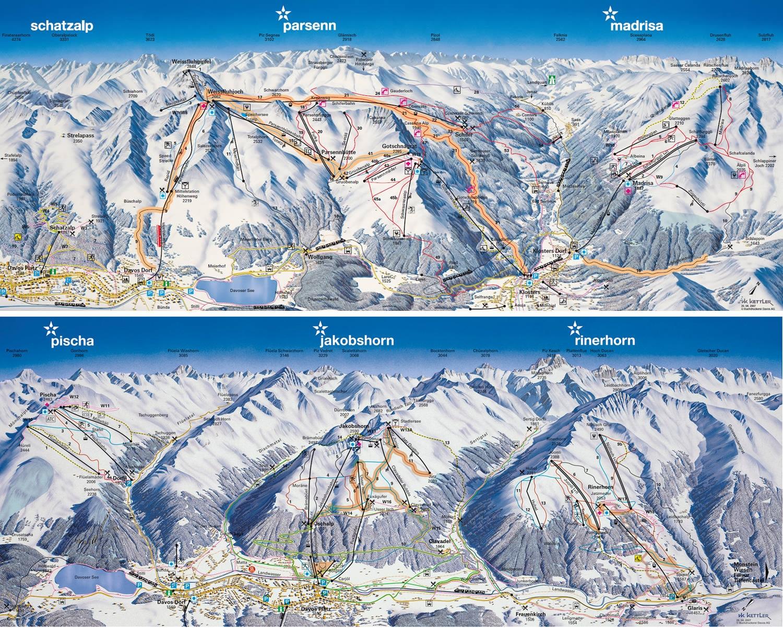 davos klosters ski area - skiing, ski area map & après ski