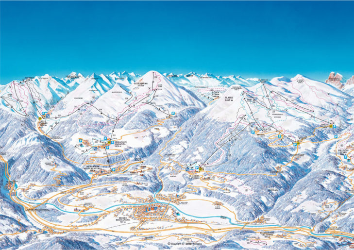 Val d'Isarco ski area map.