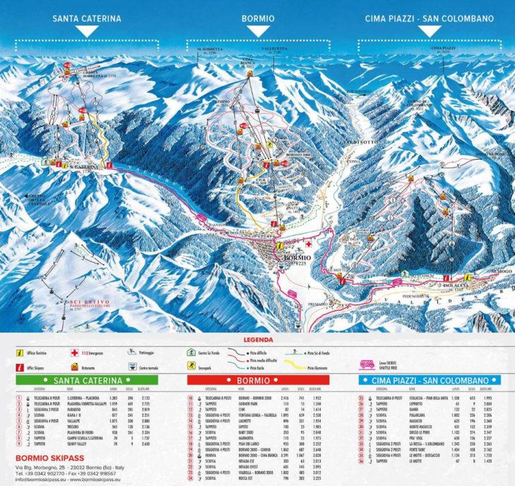 Bormio ski area map.