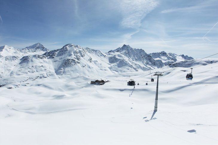 Stunning snowy landscape in the Bormio ski area.