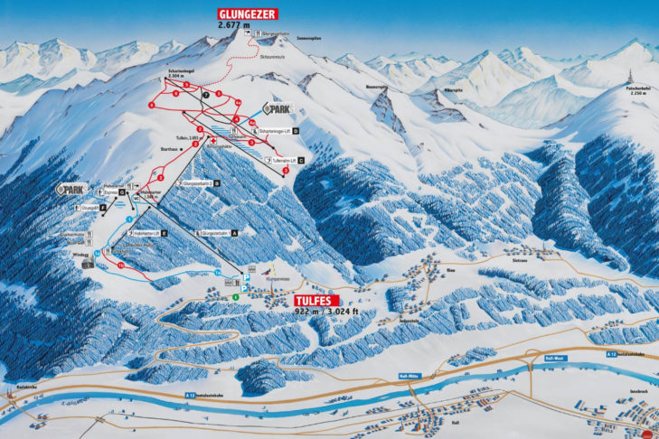 Glungezer ski area map.