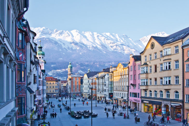 The classic postcard motif: Innsbruck city centre with mountain panorama.