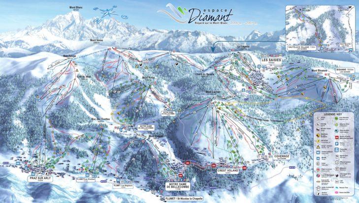 Espace Diamant ski area map.