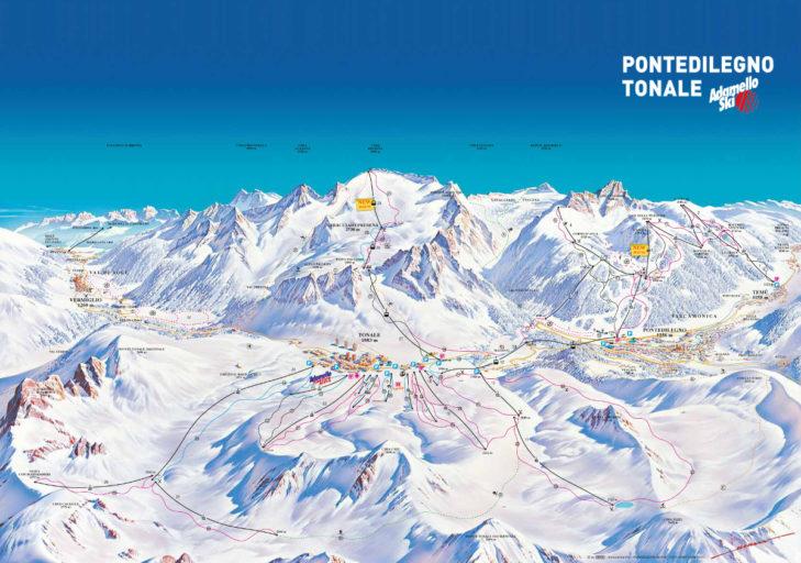 Adamello ski area map.