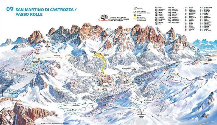 San Martino di Castrozza ski area map.
