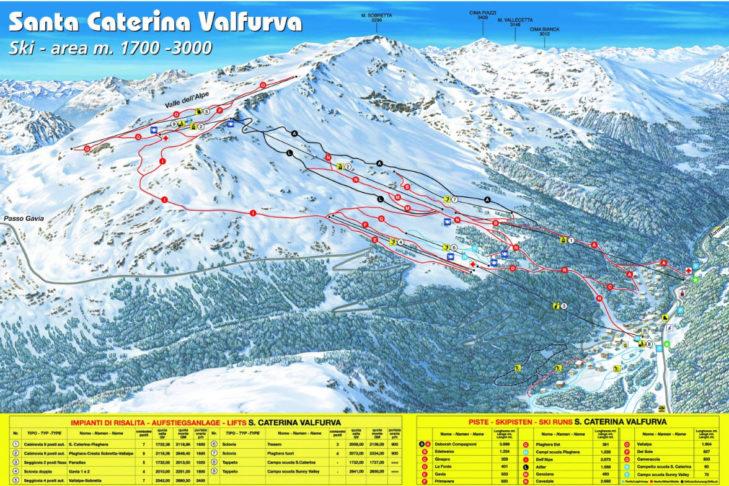 Santa Caterina Valfurva ski area map.