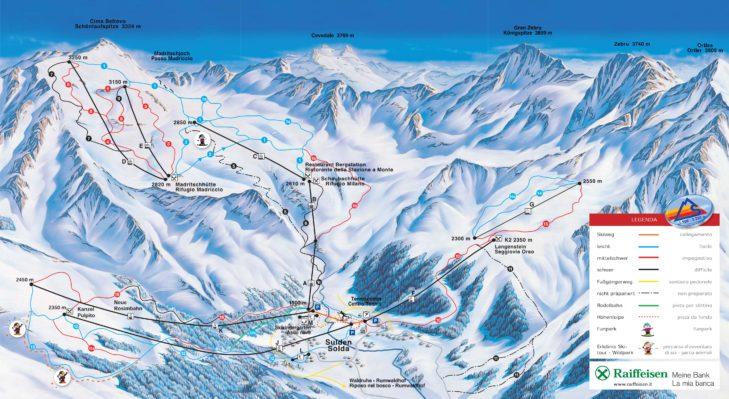 Sulden ski area map.