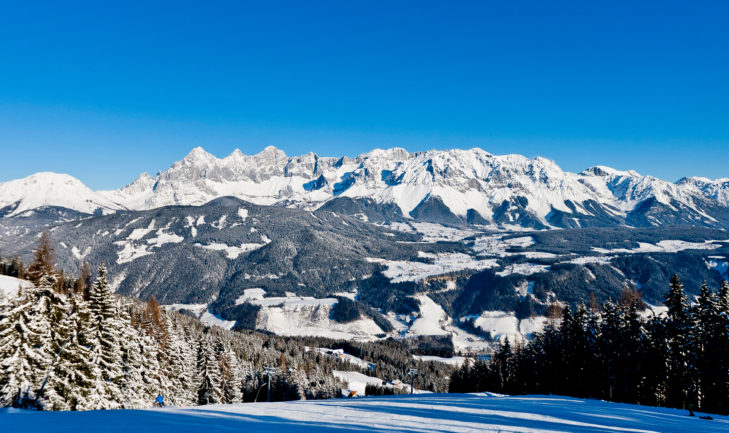 Panoramic view of the magnificent Dachstein Mountains from the Schladming-Dachstein ski area.