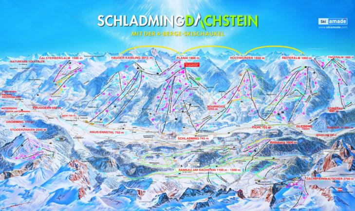 Schladming-Dachstein ski area map.