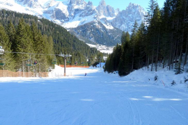 Magnificent view of the run in the San Martino di Castrozza ski area.