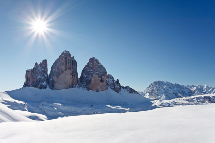 Winter holidays in Italy - looking at the face of the Three Peaks in the Dolomites, for example.