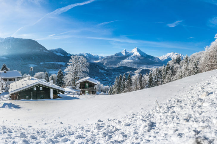 Winter holidays in Germany, with a wonderful view over the Berchtesgaden mountains, for example.