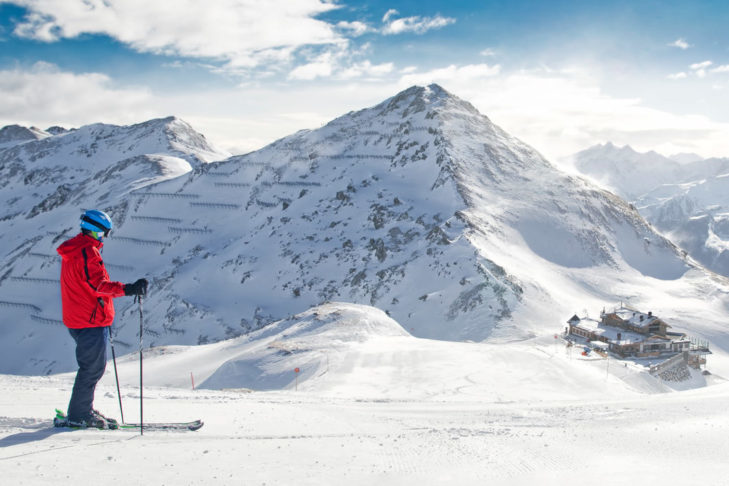 Skiing in the fresh powder of the Swiss Alps.