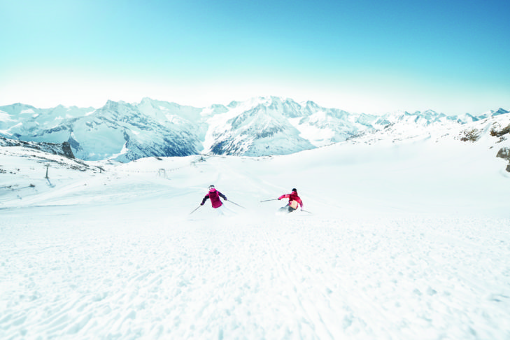 Some slopes of the ski area Hintertuxer Gletscher are open all year round.