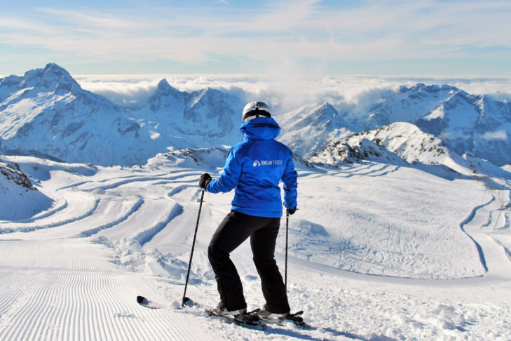 What a view from the glacier in Les 2 Alpes over the French Alps!