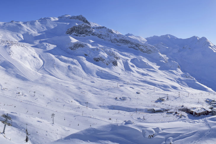 Piste panorama of the Silvretta Arena, the ski area of Ischgl.