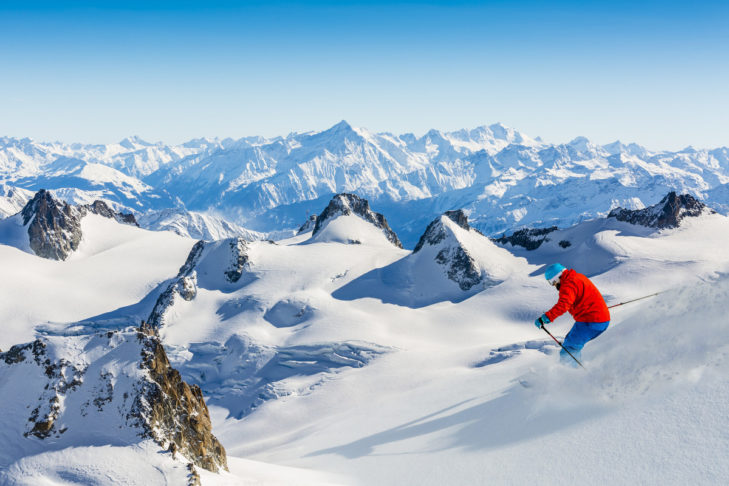Freerider in untouched deep snow in the French Alps.