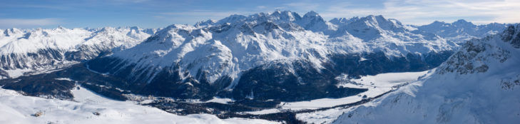 Panoramic view from the Corviglia ski area of the villages St. Moritz, Pontresina, Silvaplana and Lake St. Moritz.