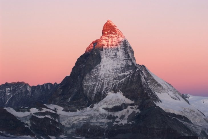 The highest ski area in Switzerland lies on the Matterhorn, the most famous of all the Swiss mountains.