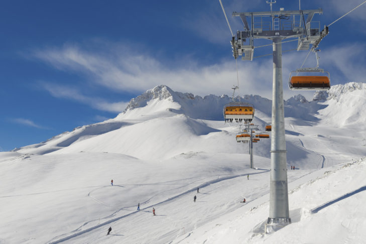 Modern lifts and top groomed slopes in the Zugspitze ski area.