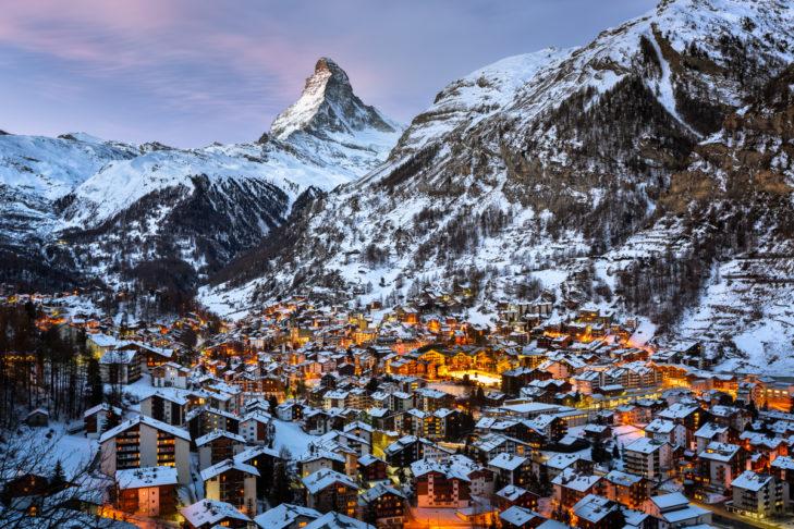 Zermatt in the light of the Matterhorn.