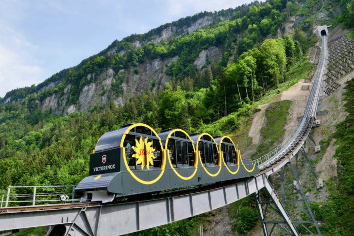 """""""Hold on tight!"""" - you'll want to when riding along the steepest funicular in the Alps: the Stoosbahn."""