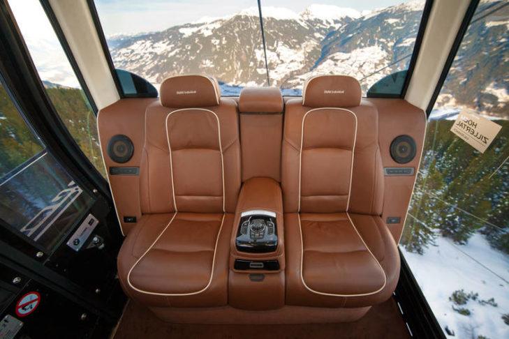 The interior of the VIP gondola in Kaltenbach.