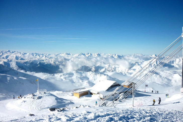 View from the Cime de Caron in the French ski area Les 3 Vallées - the largest contiguous ski area in the world.