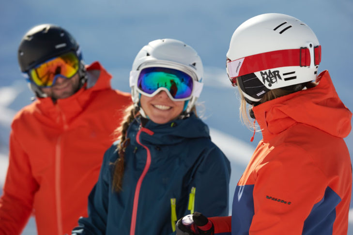 Whether borrowed or bought - ski helmet and glasses are a must!