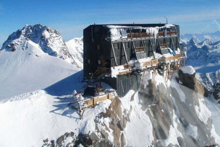 The Margherita Hut is enthroned high up on the Signalkuppe.