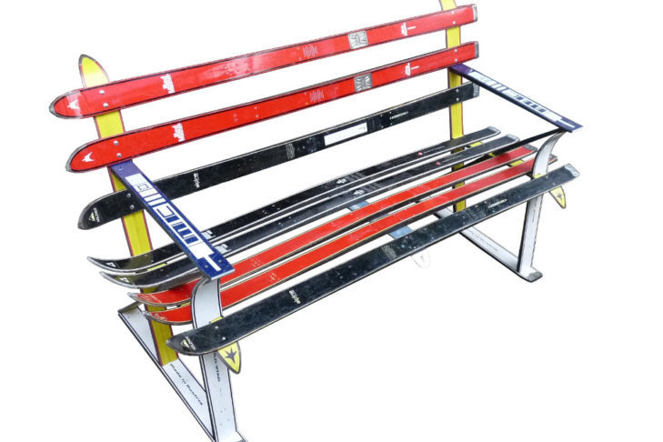 Ski bench made of old skis - totally cool!