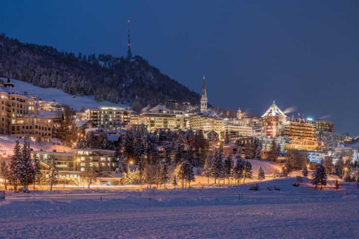 Evening view of the wintry St. Moritz.