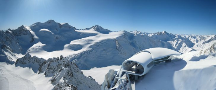 The mountain station of the Wildspitzbahn lift at Pitztaler Gletscher.