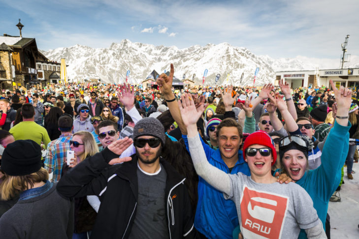 Party people at the Electric Mountain Festival in Sölden.