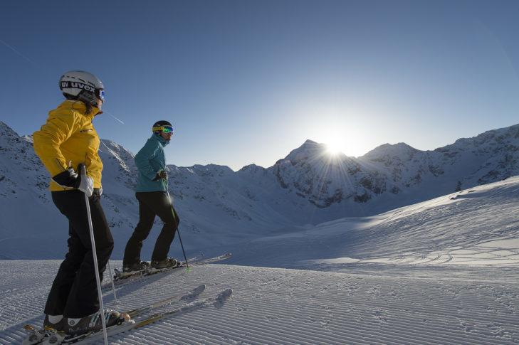 Sunny slope in the Sulden am Ortler ski area.