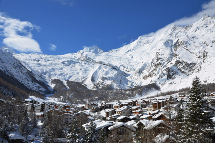 View of the car-free Saas-Fee.