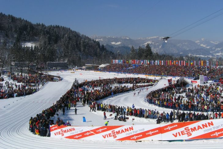 Cross-country skiing arena in Oberstdorf during the Nordic World Ski Championships.