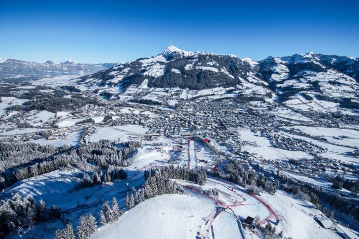 "The legendary ""Streif"" in the Kitzbühel ski area."