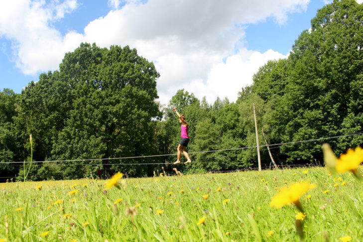 Why not try a balancing act on the slackline?
