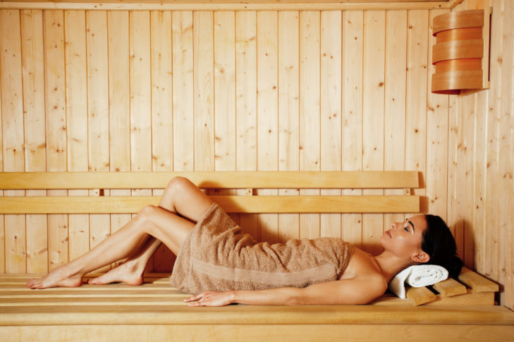 A sauna session after a day's skiing relaxes the tired muscles.